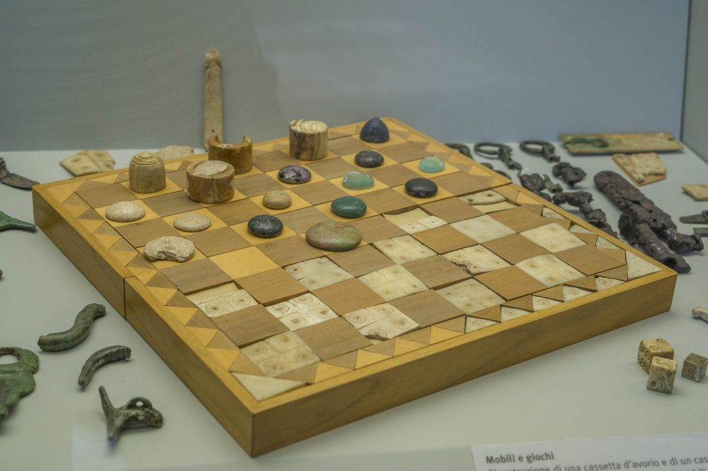 Ancient board games in Crypta Balbi museum in Rome