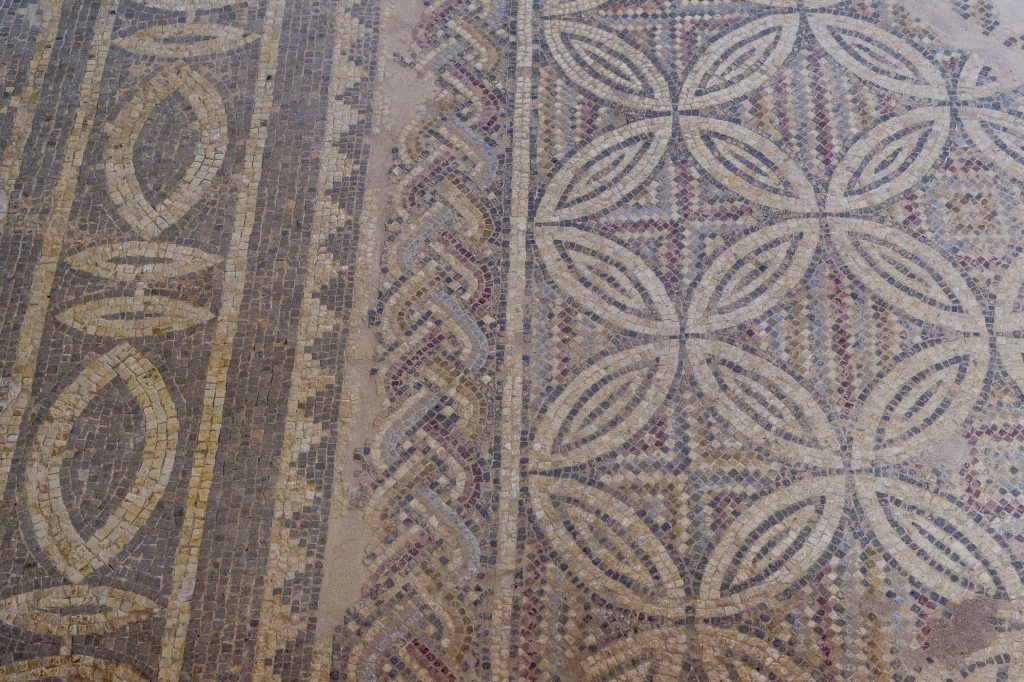 Beautiful mosaic with geometrical motifs in Kato Paphos archeological park