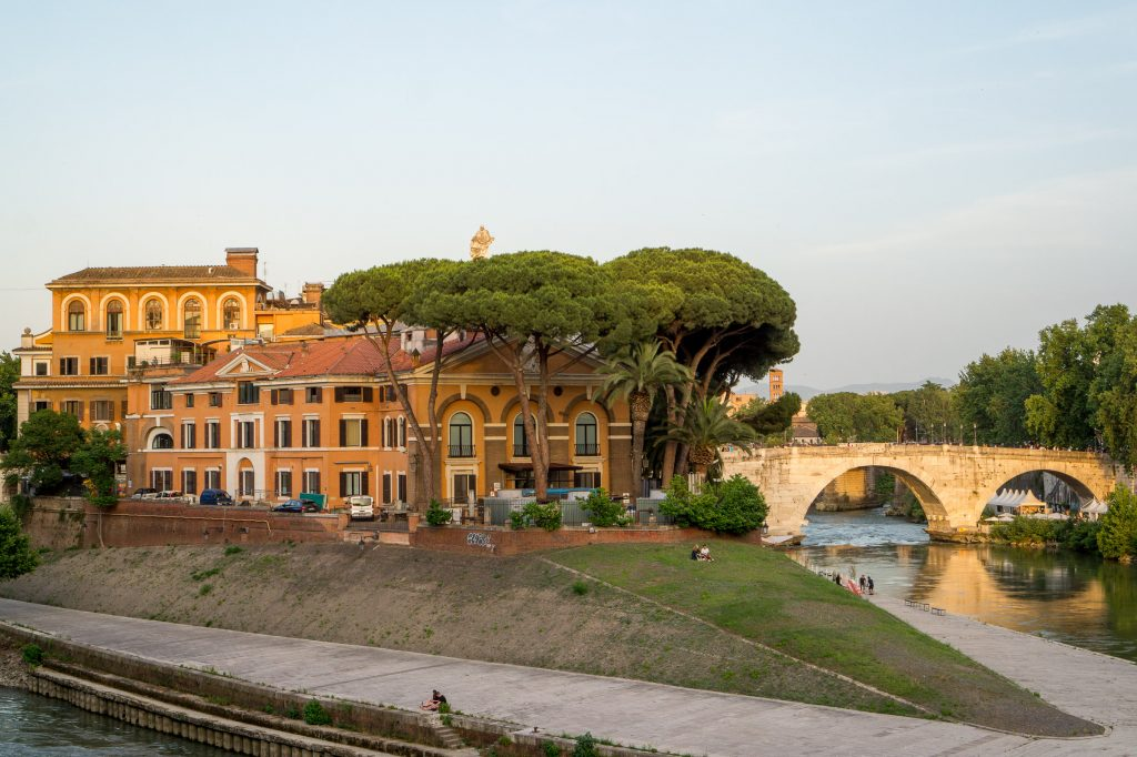 Isola Tiberina in Rome by sunset